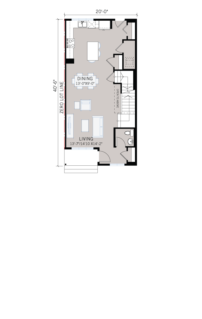 Base floorplan of Indigo 1 SF - Modern Prairie F1 - 1,525 sqft, 3 Bedroom, 2.5 Bathroom - Cardel Homes Calgary