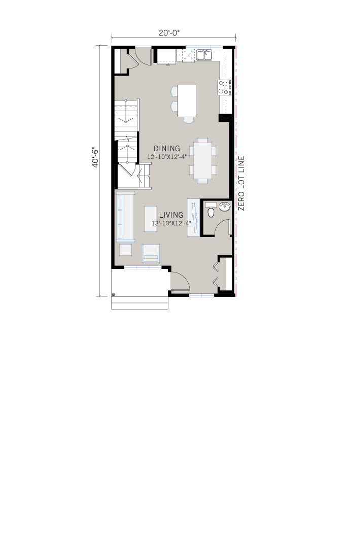 Base floorplan of Indigo 2 SF - Modern Prairie F1 - 1,534 sqft, 3 Bedroom, 2.5 Bathroom - Cardel Homes Calgary