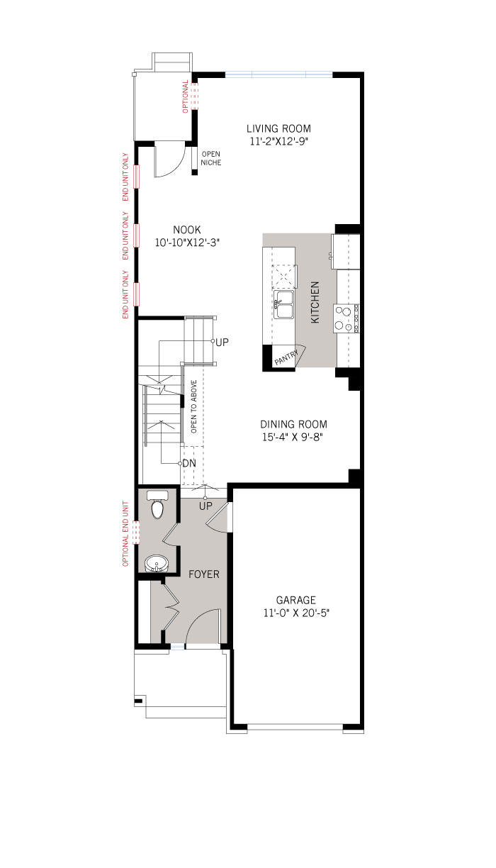 Base floorplan of Cardinal - Elevation B1/Scheme 2 - 2,305 sqft, 3 Bedroom, 2.5 Bathroom - Cardel Homes Ottawa