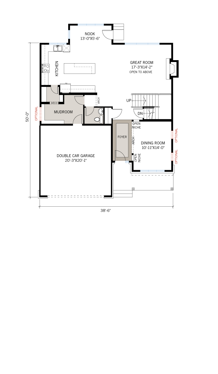 Base floorplan of Barrington - A3 Modern Urban - 2,531 sqft, 4 Bedroom, 2.5 Bathroom - Cardel Homes Ottawa