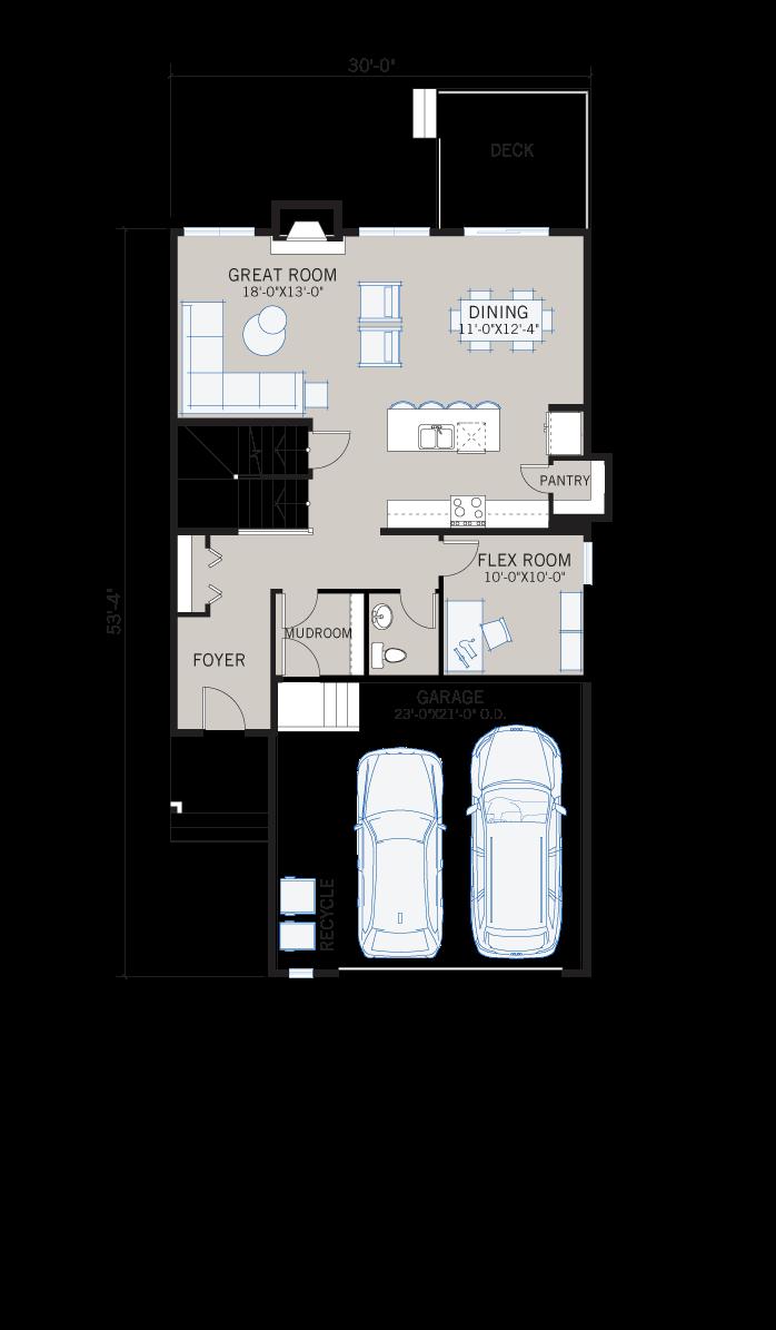 Base floorplan of Grafton 2 - Shingle S1 - 2,300 sqft, 3 Bedroom, 2.5 Bathroom - Cardel Homes Calgary