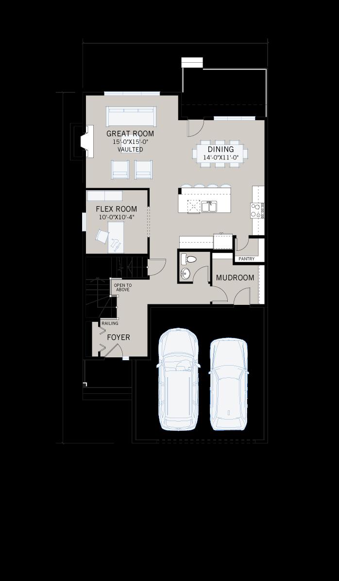 Base floorplan of  - 2,410 sqft, 3 Bedroom, 2.5 Bathroom - Cardel Homes Calgary