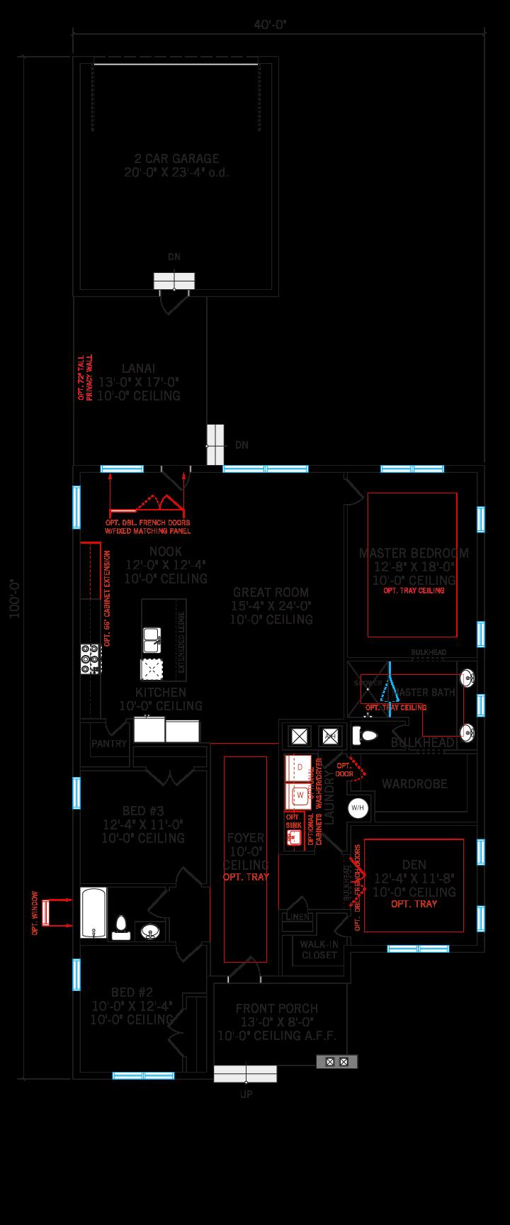 Base floorplan of Elation - Elev C - 2,101 sqft, 3-4 Bedroom, 2 Bathroom - Cardel Homes Tampa