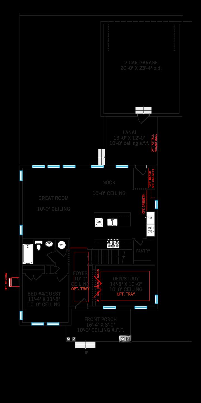 Base floorplan of Liberty - Elev C - 2,445 sqft, 4-5 Bedroom, 3 Bathroom - Cardel Homes Tampa