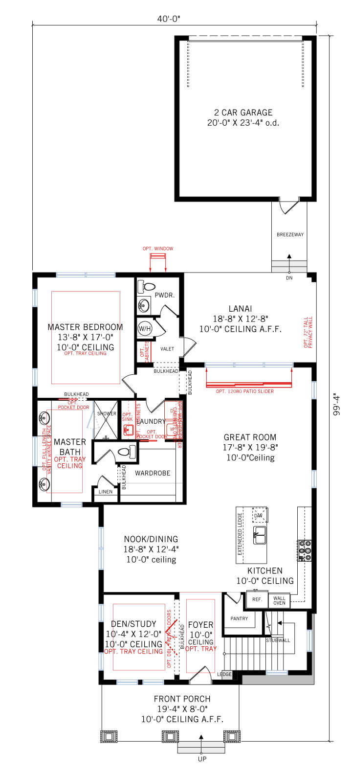 Base floorplan of Allure - Elev D - 2,771 sqft, 4-5 Bedroom, 3.5 Bathroom - Cardel Homes Tampa