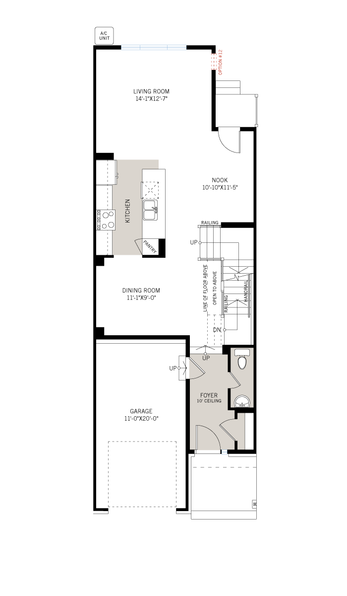 Base floorplan of Alder EW - Elevation B - 2,237 sqft, 3 Bedroom, 2.5 Bathroom - Cardel Homes Ottawa