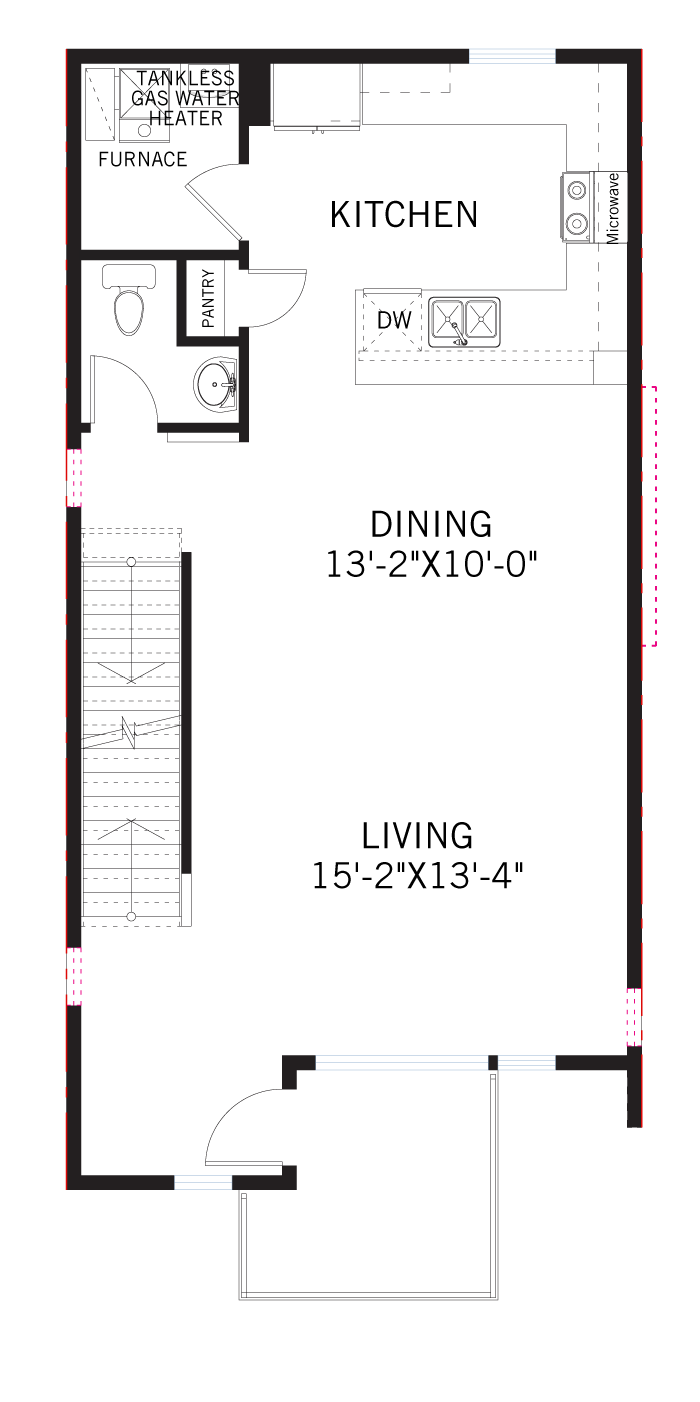 Base floorplan of KENNEDY-Towns - Kennedy WMS - 1,606 sqft, 2 Bedroom, 2.5 Bathroom - Cardel Homes Denver