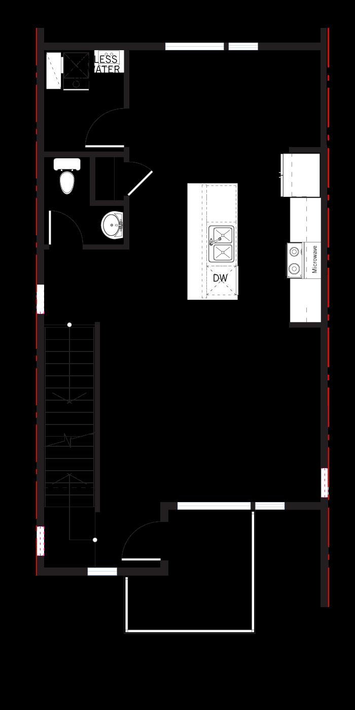 Base floorplan of PRESTON-Towns - Preston WMS - 1,474 sqft, 2 Bedroom, 2.5 Bathroom - Cardel Homes Denver