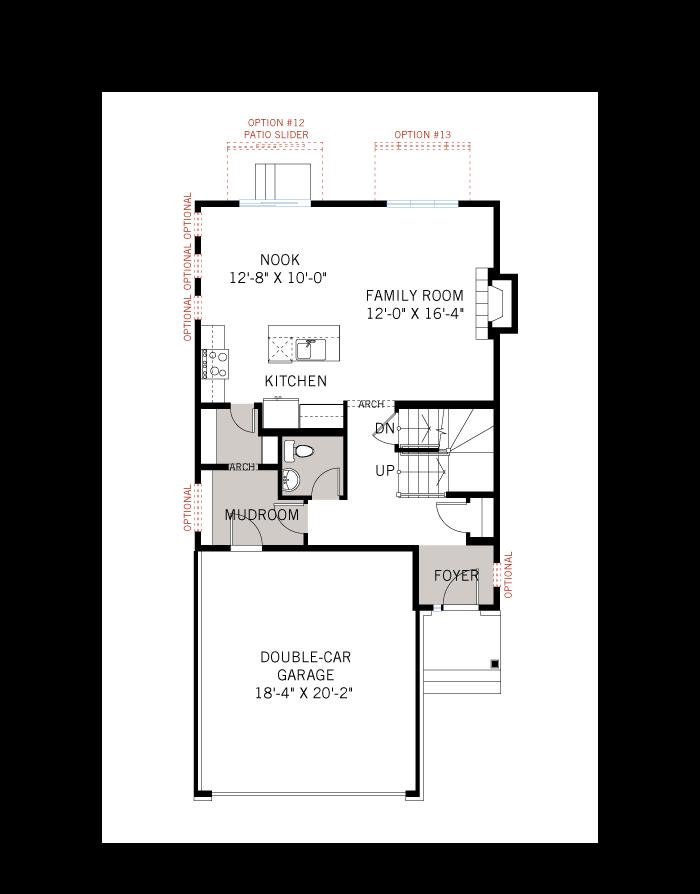 Base floorplan of EW-AIDEN A2 TRADITIONAL - 1,964 sqft, 3 - 4 Bedroom, 2.5 Bathroom - Cardel Homes Ottawa