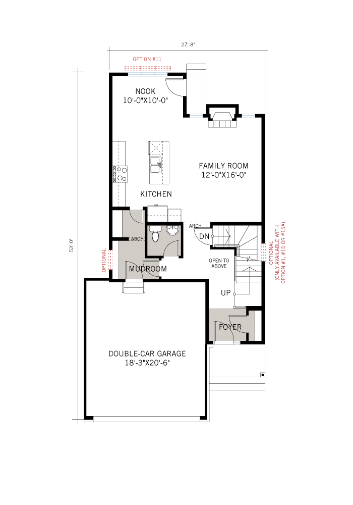 Base floorplan of EW-MINETTA A2 TRADITIONAL - 1,852 sqft, 3 - 4 Bedroom, 2.5 Bathroom - Cardel Homes Ottawa