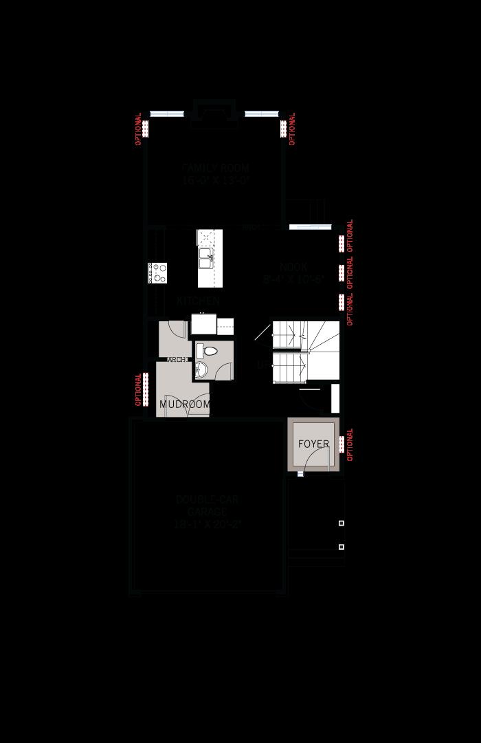 Base floorplan of EW-COLE A2 TRADITIONAL - 2,051 sqft, 3 - 4 Bedroom, 2.5 Bathroom - Cardel Homes Ottawa