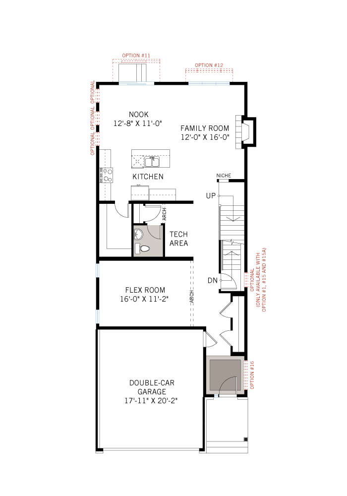 Base floorplan of EW-CORDERO A2 TRADITIONAL - 2,640 sqft, 4 - 5 Bedroom, 2.5 - 4 Bathroom - Cardel Homes Ottawa