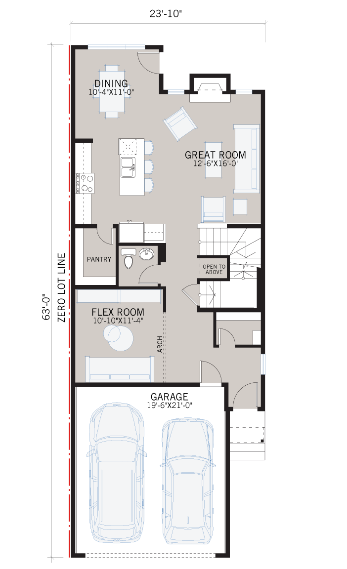 Base floorplan of SAV-MG-ROHAN-1-A3 - 2,202 sqft, 4 Bedroom, 2.5 Bathroom - Cardel Homes Calgary