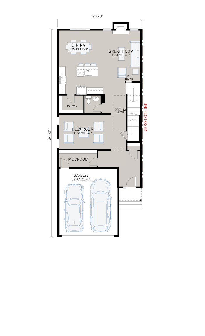 Base floorplan of Aster - Urban Farmhouse F1 - 2,609 sqft, 4 Bedroom, 2.5 Bathroom - Cardel Homes Calgary