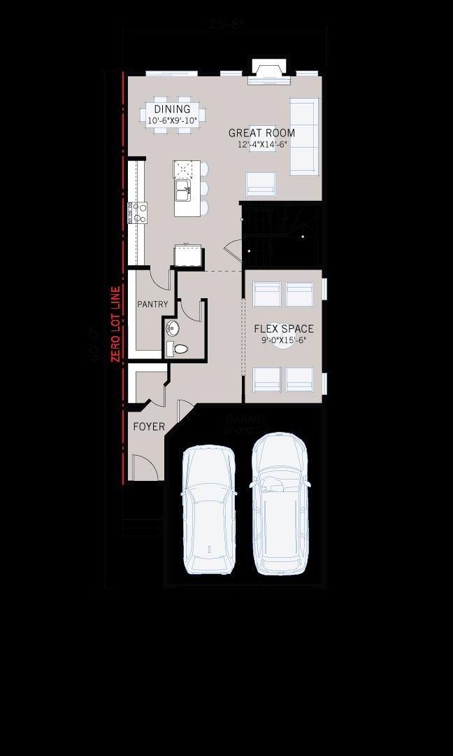 Base floorplan of Artisan 1 - Prairie C2 - 2,364 sqft, 4 Bedroom, 2.5 Bathroom - Cardel Homes Calgary