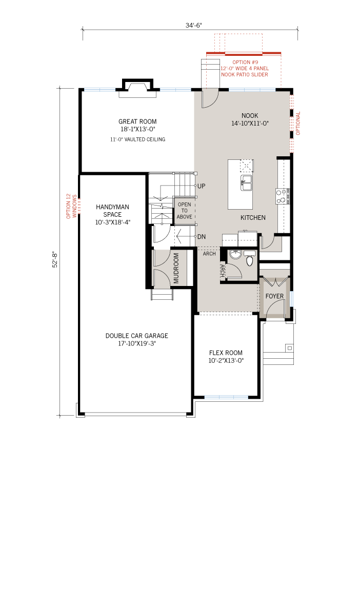 Base floorplan of Nichols - A3 Modern Urban - 2,456 sqft, 4 - 5 Bedroom, 2.5 - 3.5 Bathroom - Cardel Homes Ottawa