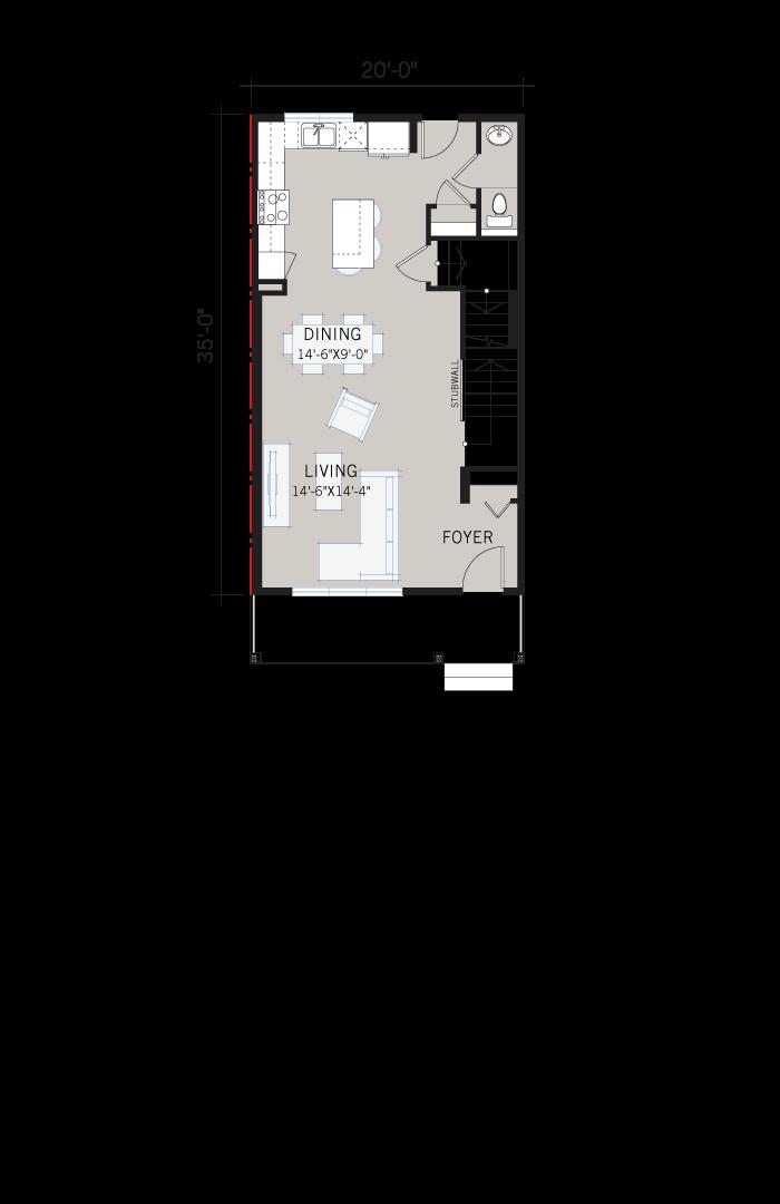 Base floorplan of Indigo 3 - Urban Prairie F1 - 1,412 sqft, 3 Bedroom, 2.5 Bathroom - Cardel Homes Calgary