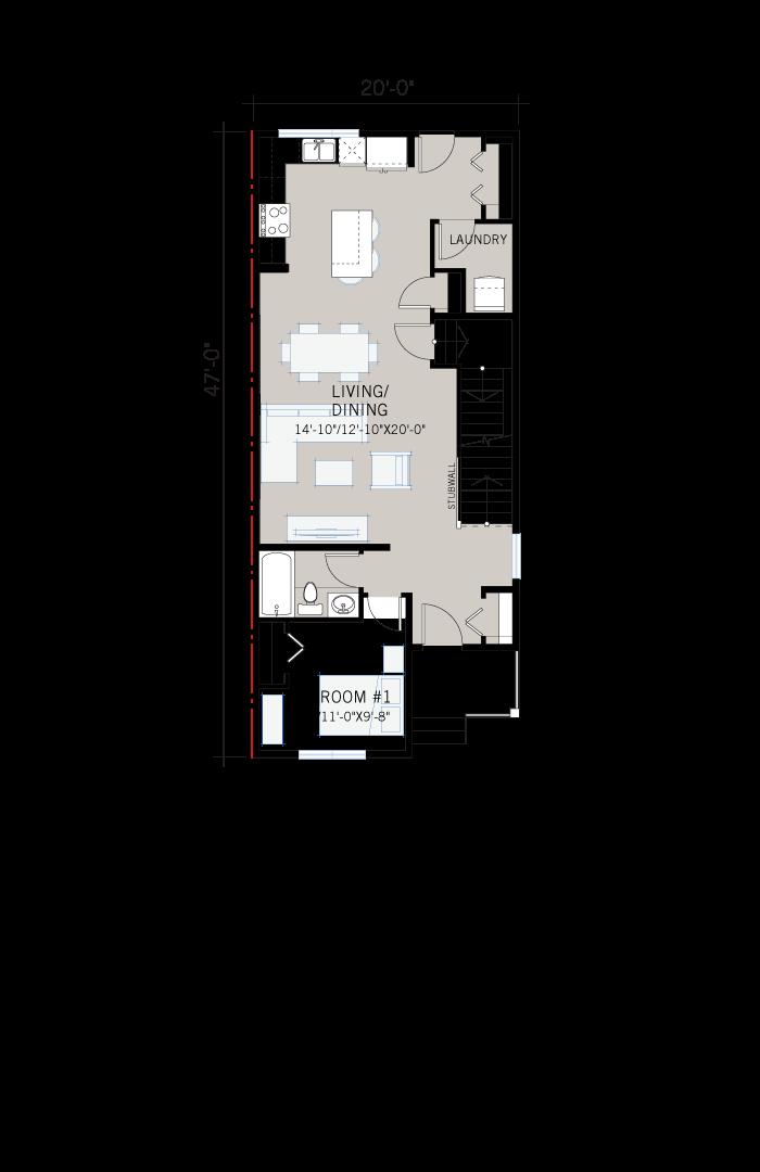 Base floorplan of Mensa 3 - Urban Prairie F1 - 1,752 sqft, 4 Bedroom, 3 Bathroom - Cardel Homes Calgary