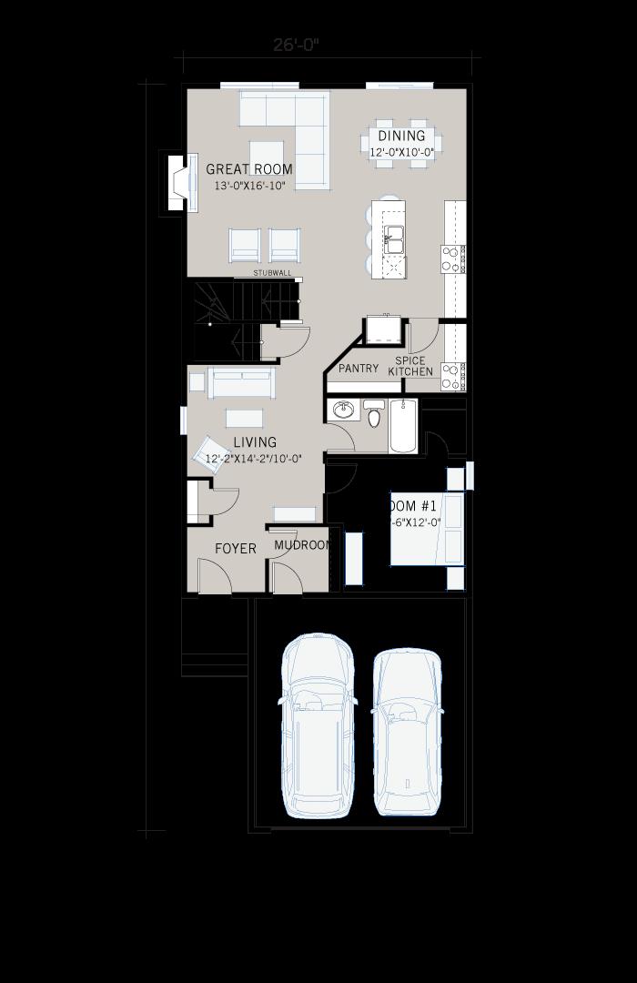 Base floorplan of Modena - Farmhouse C3 - 2,662 sqft, 5 Bedroom, 4 Bathroom - Cardel Homes Calgary