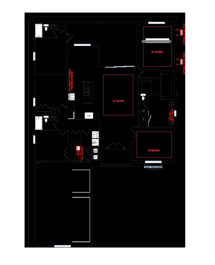 Base floorplan of Asher - West Indies C - 2,300 sqft, 3 Bedroom, 3 Bathroom - Cardel Homes Tampa