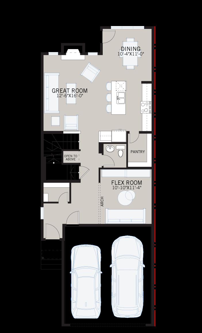 Base floorplan of Rohan - Elevation A - 2,211 sqft, 4 Bedroom, 2.5 Bathroom - Cardel Homes Calgary