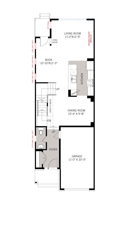 Base floorplan of Cardinal - Elevation B1/Scheme 2 - 2,305 sqft, 3 Bedroom, 2.5 Bathroom - Cardel Homes Ottawa