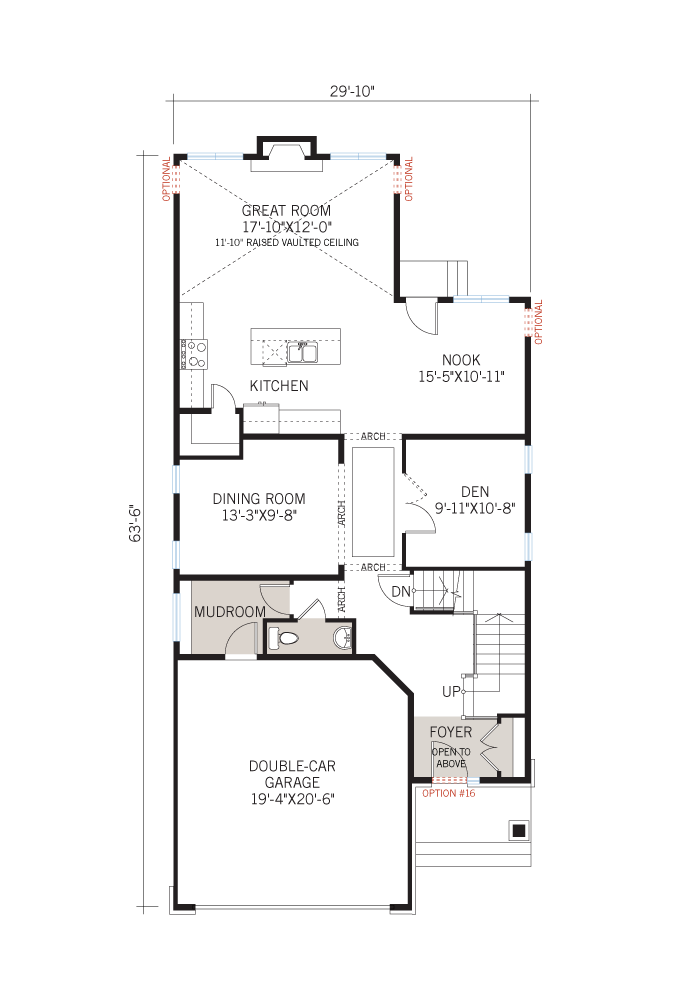 Base floorplan of CANADIANA_B1 - 2,570 sqft, 4 Bedroom, 2.5 Bathroom - Cardel Homes Ottawa