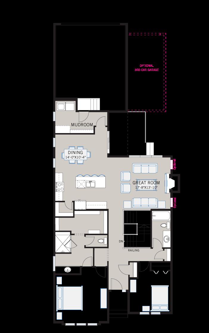 Base floorplan of CambriaCourt-Rustic-S2 - 1,611 sqft, 2 Bedroom, 2 Bathroom - Cardel Homes Calgary