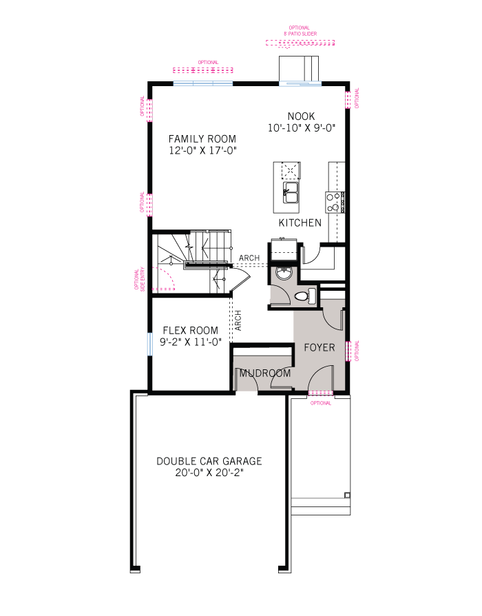 Base floorplan of Neuvo 2-BS - Modern B3 - 2,040 sqft, 3-4 Bedroom, 2.5 Bathroom - Cardel Homes Ottawa