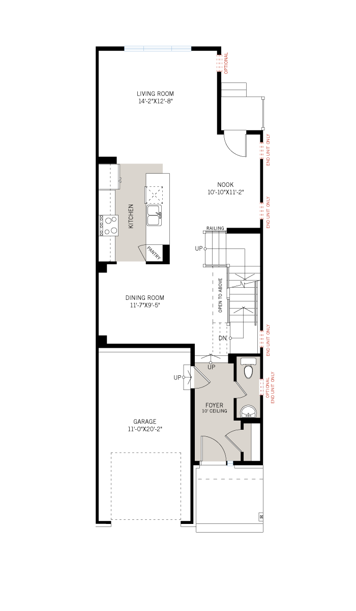 Base floorplan of Alder EW - Elevation A - 2,237 sqft, 3 Bedroom, 2.5 Bathroom - Cardel Homes Ottawa