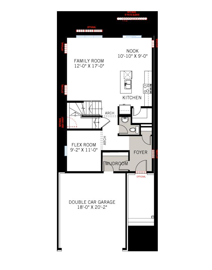 Base floorplan of Neuvo 1-EW - Modern B3 - 2,040 sqft, 3-4 Bedroom, 2.5 Bathroom - Cardel Homes Ottawa