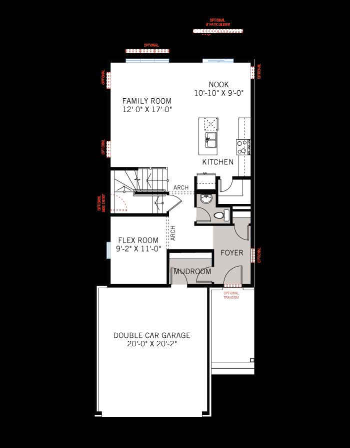 Base floorplan of Neuvo 2-BS - Canadiana B4 - 2,040 sqft, 3-4 Bedroom, 2.5-3.5 Bathroom - Cardel Homes Ottawa