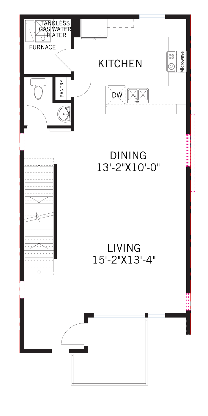 Base floorplan of KENNEDY-Towns - Kennedy WMS - 1,606 sqft, 2 Bedroom, 2.5 Bathroom - Cardel Homes Denver