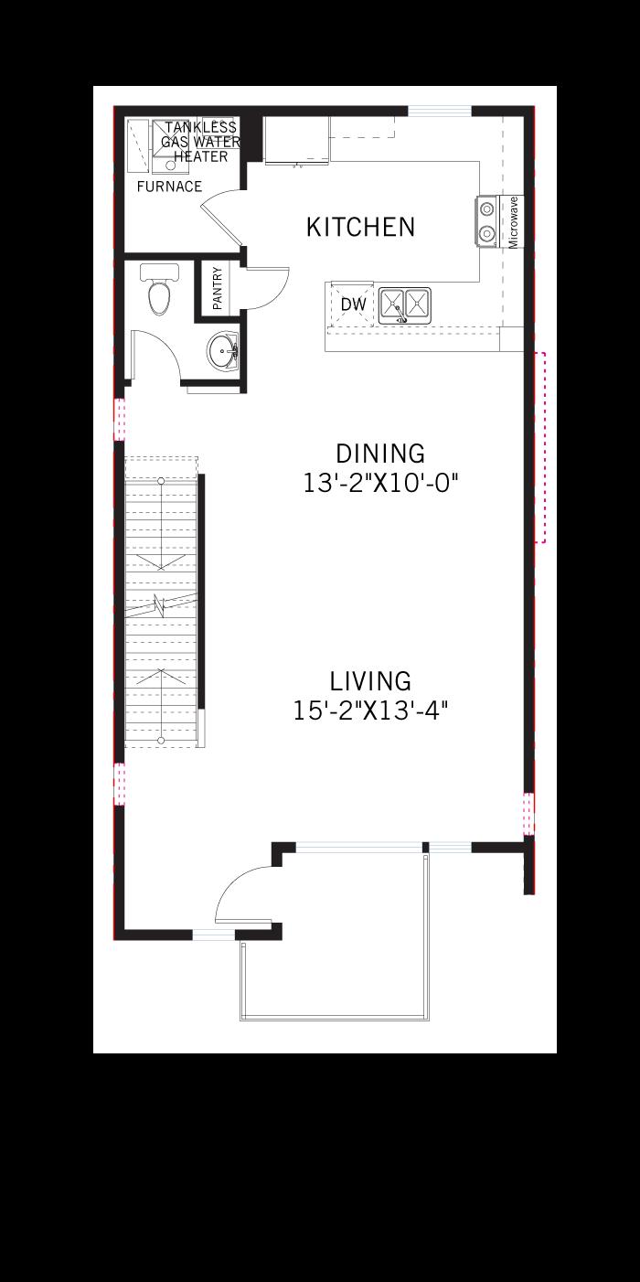 Base floorplan of KENNEDY-Towns - Kennedy WMS - 1,792 sqft, 3 Bedroom, 2.5 Bathroom - Cardel Homes Denver