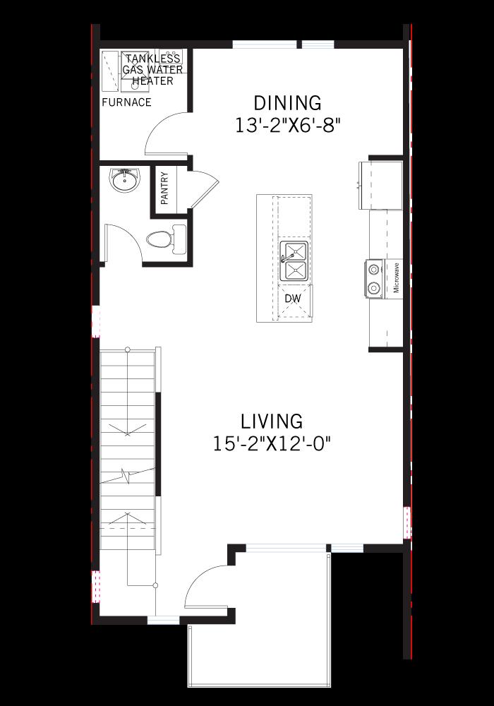 Base floorplan of PRESTON-Towns - Preston WMS - 1,575 sqft, 2  Bedroom, 2.5 Bathroom - Cardel Homes Denver