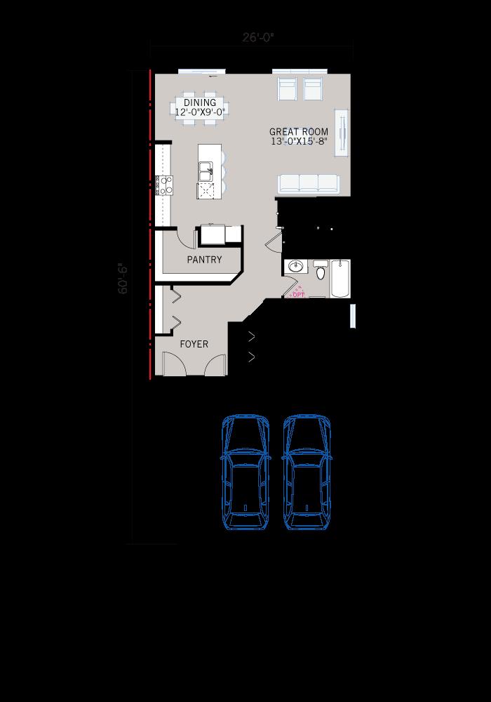 Base floorplan of HAVEN - C2 Prairie - 2,413 sqft, 5 Bedroom, 4 Bathroom - Cardel Homes Calgary