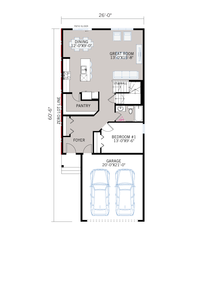 Base floorplan of HAVEN - A1 Craftsman - 2,413 sqft, 5 Bedroom, 4 Bathroom - Cardel Homes Calgary