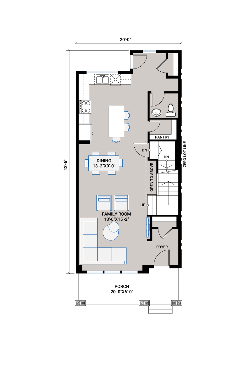 Base floorplan of AMERY AP - AP3 MOUNTAIN CRAFTSMAN - 1,598 sqft, 3 Bedroom, 2.5 Bathroom - Cardel Homes Calgary