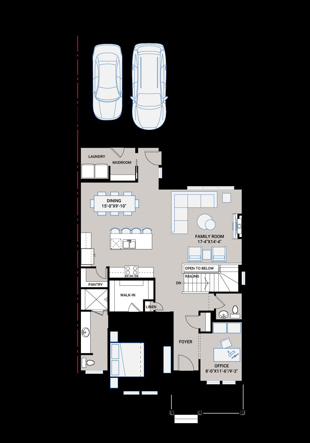 Base floorplan of LORETTE AP - AP1 FARMHOUSE - 1,387 sqft, 1 Bedroom, 1.5 - 2.5 Bathroom - Cardel Homes Calgary