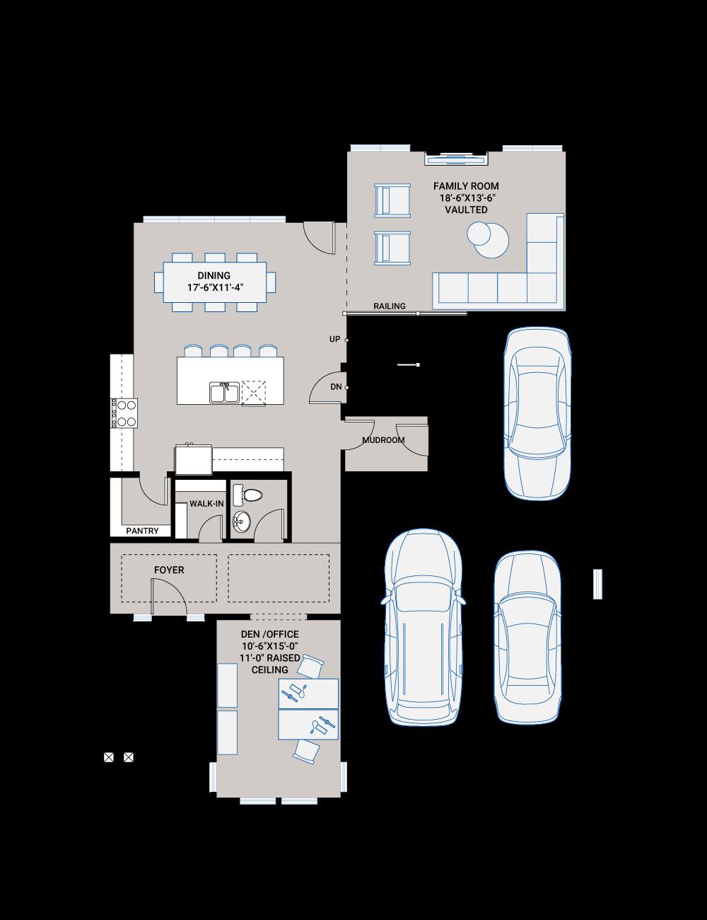 Base floorplan of SUMMIT AP - AP1 MODERN FARMHOUSE - 2,707 sqft, 3 Bedroom, 2.5 Bathroom - Cardel Homes Calgary