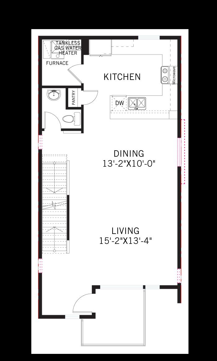 Base floorplan of KENNEDY-Towns - Kennedy WMS - 1,696 sqft, 2 Bedroom, 3.5 Bathroom - Cardel Homes Denver