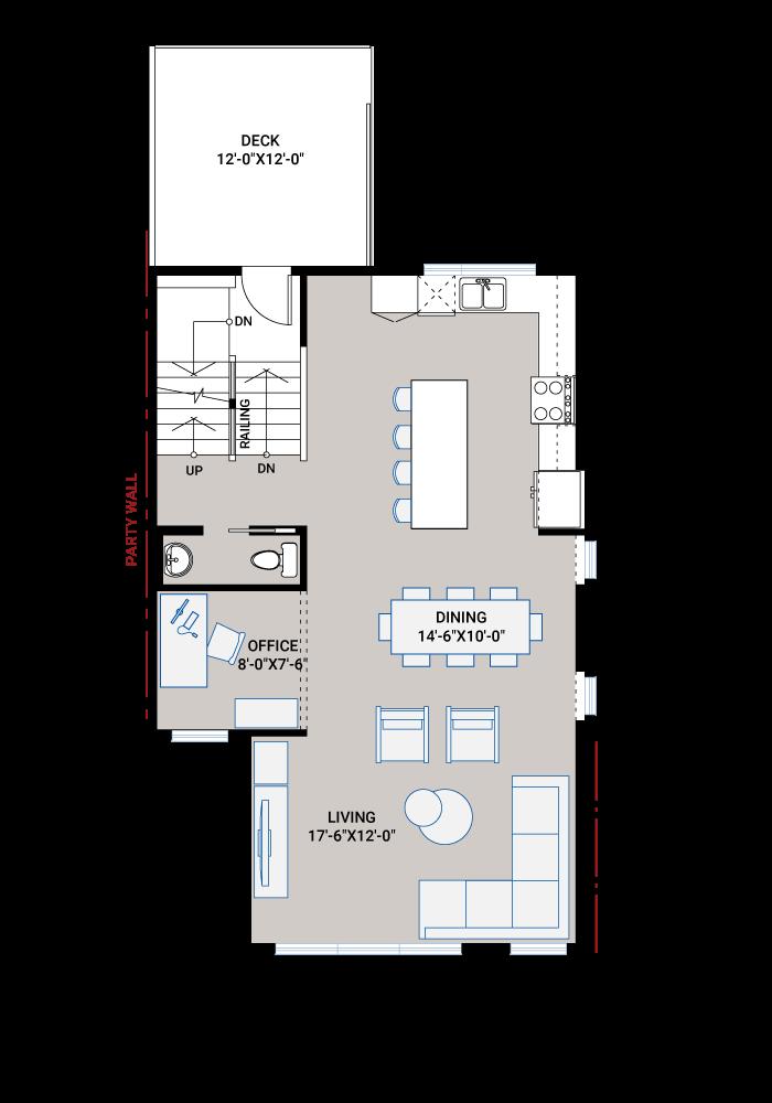 Base floorplan of ASCENT - Unit 26 - Farmhouse - 1,880 sqft, 3 Bedroom, 2.5 Bathroom - Cardel Homes Calgary