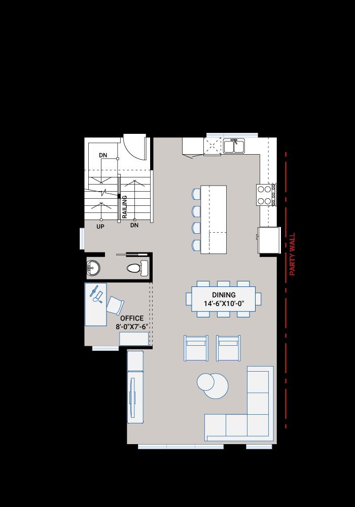 Base floorplan of ASCENT - Unit 28 - Farmhouse - 1,880 sqft, 3 Bedroom, 2.5 Bathroom - Cardel Homes Calgary