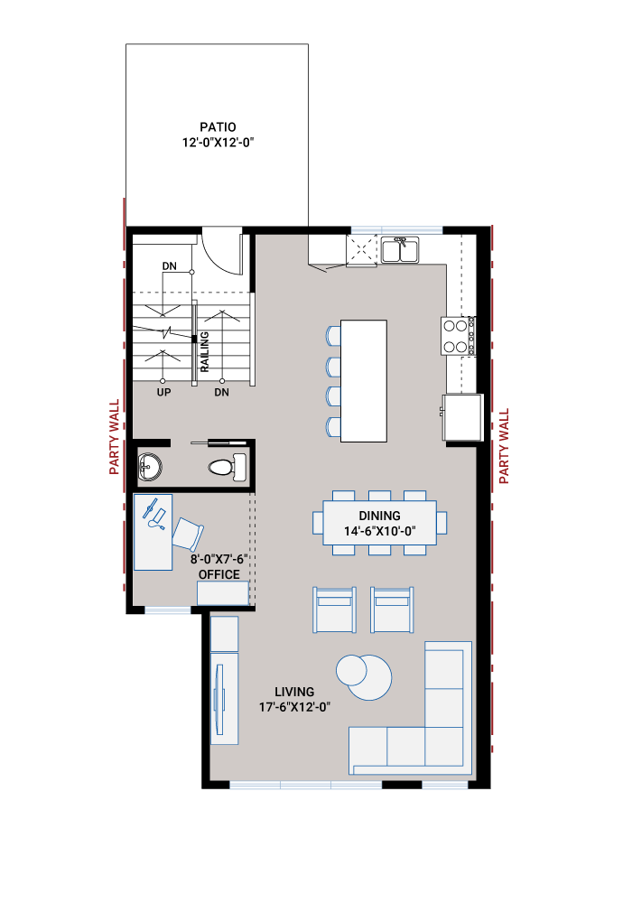 Base floorplan of ASCENT - Unit 27 - Shingle - 1,880 sqft, 3 Bedroom, 2.5 Bathroom - Cardel Homes Calgary