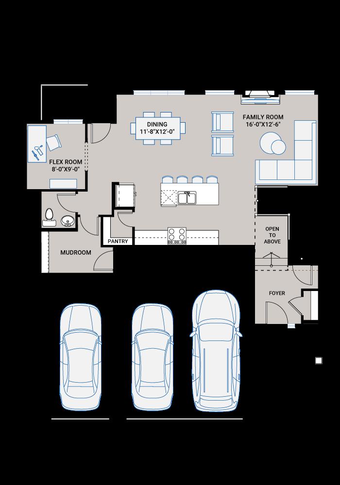 Base floorplan of MICHENER SP - S4 FARMHOUSE - 2,392 sqft, 3 Bedroom, 2.5 Bathroom - Cardel Homes Calgary