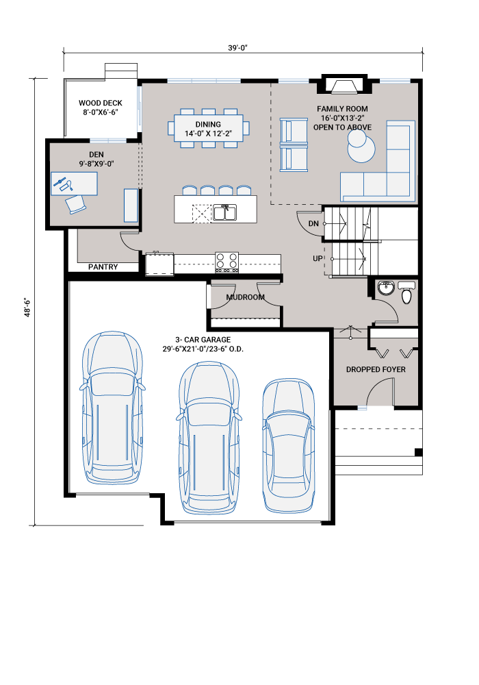 Base floorplan of CASCADE_SP - S4 FARMHOUSE_SP - 2,414 sqft, 3 Bedroom, 2.5 Bathroom - Cardel Homes Calgary