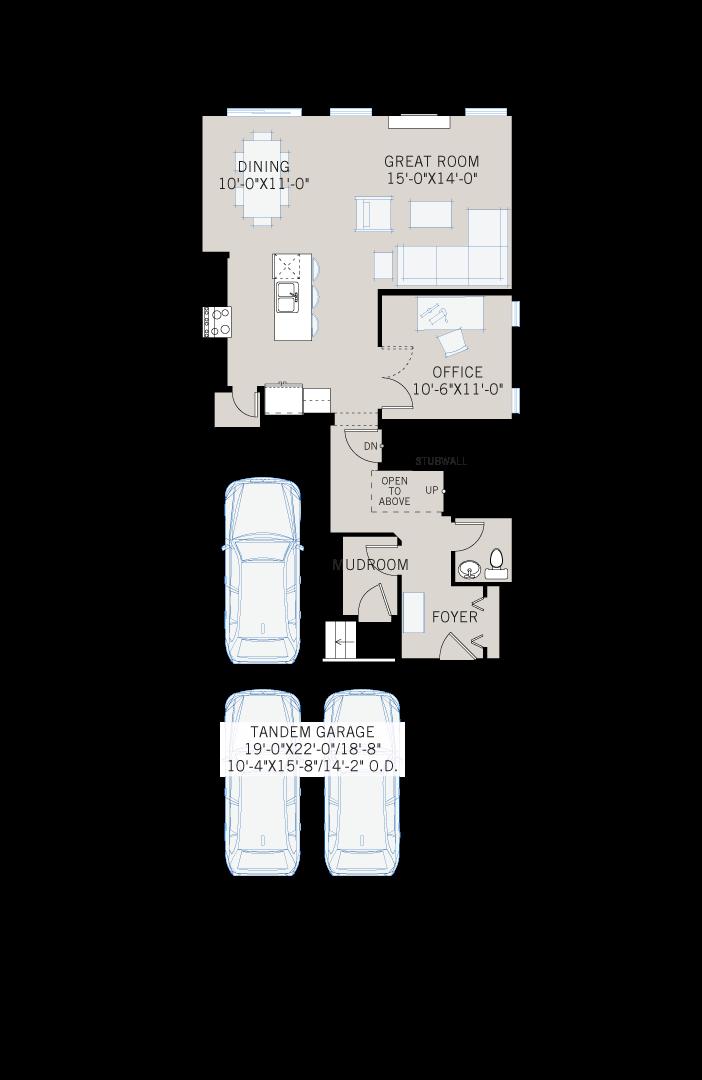 Base floorplan of Tandem Bay - Eichler F2 - 2,143 sqft, 3 Bedroom, 2.5 Bathroom - Cardel Homes Calgary