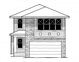 Bayview 3 - Urban Modern F3 Elevation - 2,139 sqft, 3 Bedroom, 2.5 Bathroom - Cardel Homes Calgary