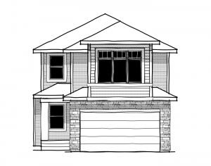 Bayview 3 - Fusion Prairie F2 Elevation - 2,139 sqft, 3 Bedroom, 2.5 Bathroom - Cardel Homes Calgary