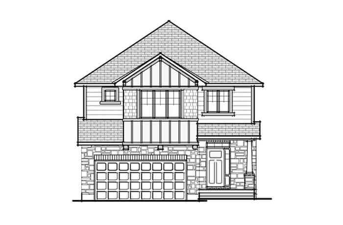 Berkshire 2 - A1 Canadiana Elevation - 2,549 sqft, 4 Bedroom, 2.5 Bathroom - Cardel Homes Ottawa
